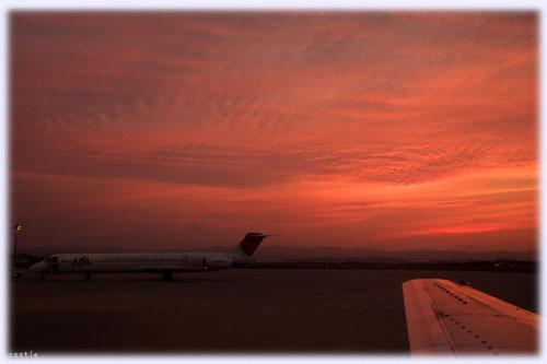 仙台空港の夕焼け
