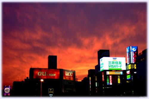 仙台駅から見た夕焼け