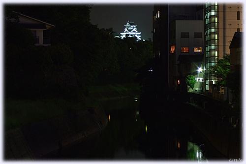 船場橋から見た夜の熊本城